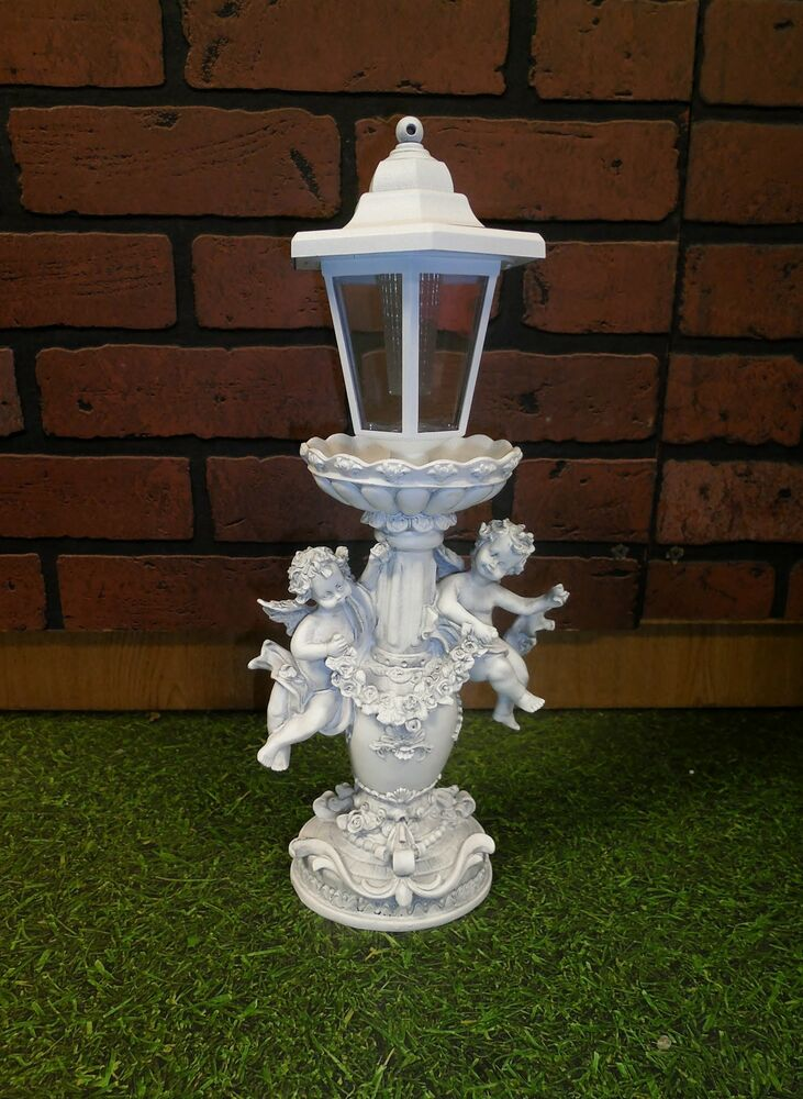 Wireless solar power lighted cherub angel outdoor yard