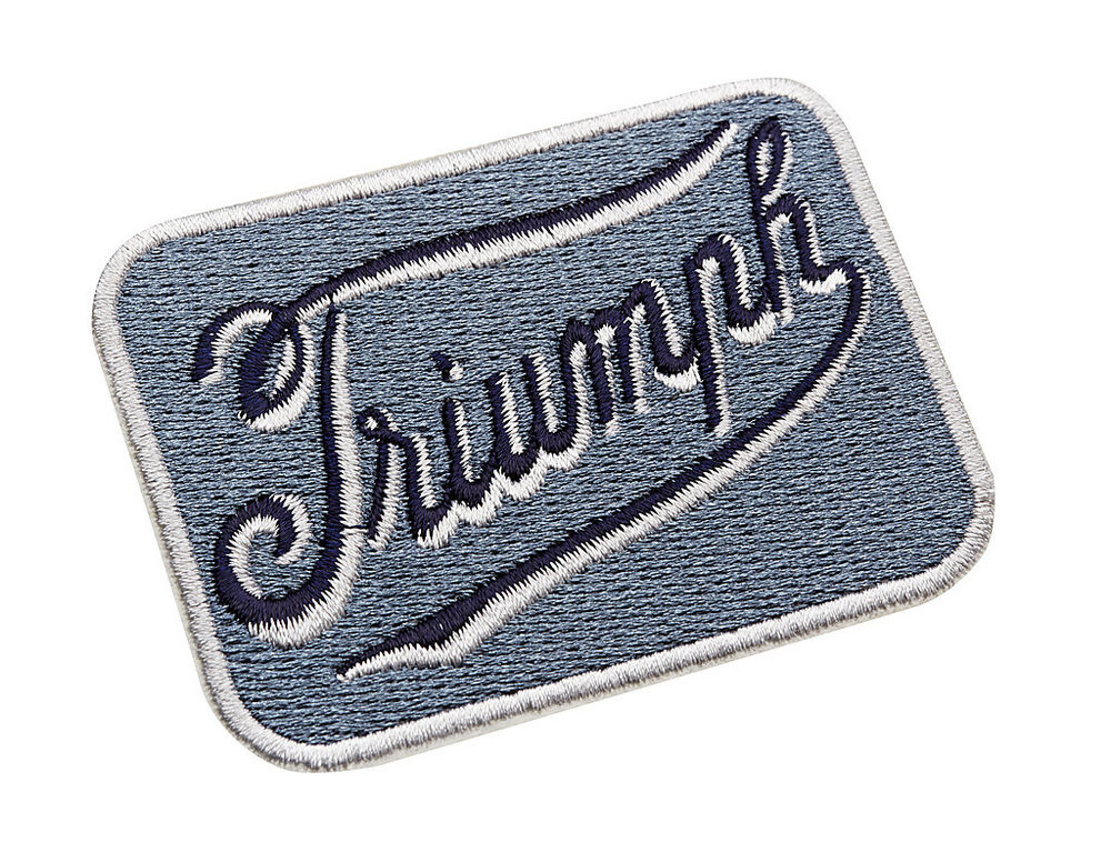 Genuine triumph motorcycles script logo blue sew on