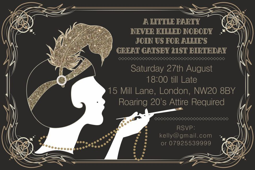 10 x Great Gatsby Personalised Birthday Party Invitations Thank you ...
