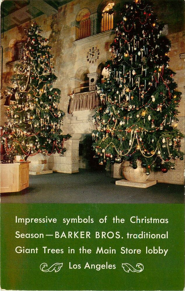 Chrome Advertising Pc Barker Bros Furniture Store Los Angeles Christmas Trees Ebay