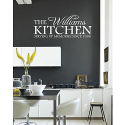 Personalised Kitchen serving memories since..... Wall Quote Stickers Wall Decals