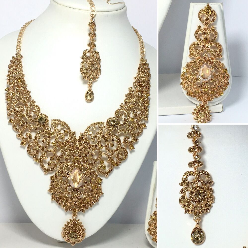 New Necklace Earring Set Gold Polki Jewellery Indian: New Indian Bollywood Costume Jewellery Necklace Earring