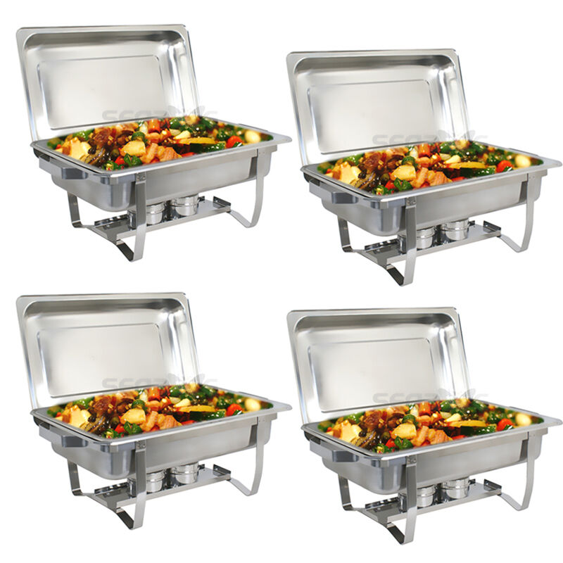 4 pack catering stainless steel chafer chafing dish sets 8 qt party pack 692754194694 ebay. Black Bedroom Furniture Sets. Home Design Ideas