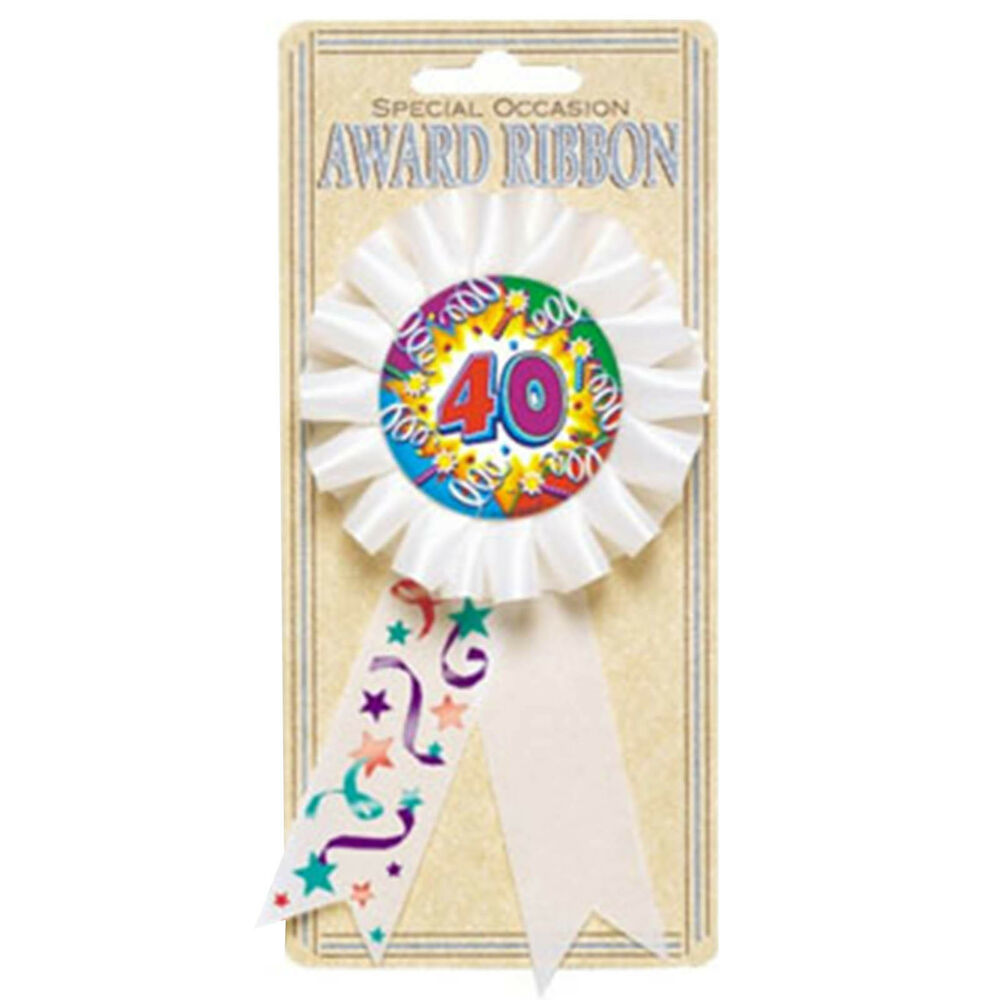 White Happy 40th Birthday Explosion Party Award Ribbon