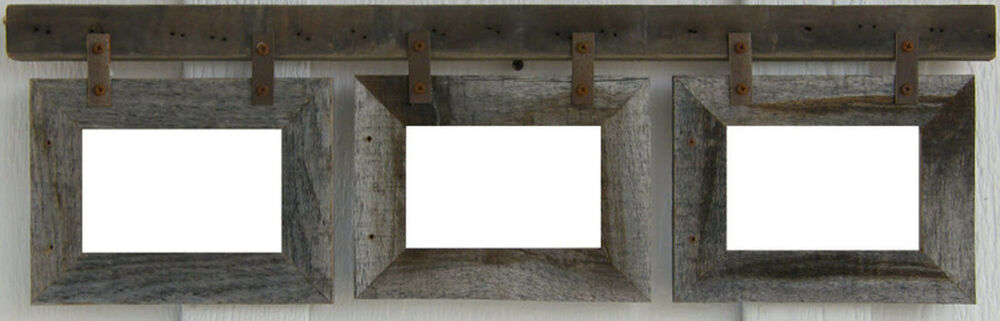Rustic Barn Wood Horizontal Multi Photo Collage Picture Photo Frame