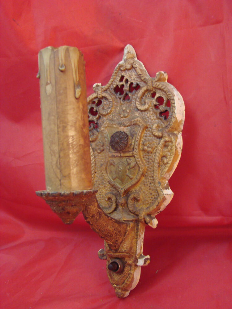 Antique Victorian Nouveau Deco Wall Electric Candle Sconce