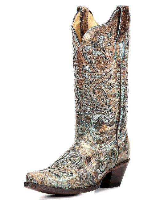 Popular Corral Studded Turquoise Leather Inlay Cowgirl Boots - Snip Toe - Country Outfitter