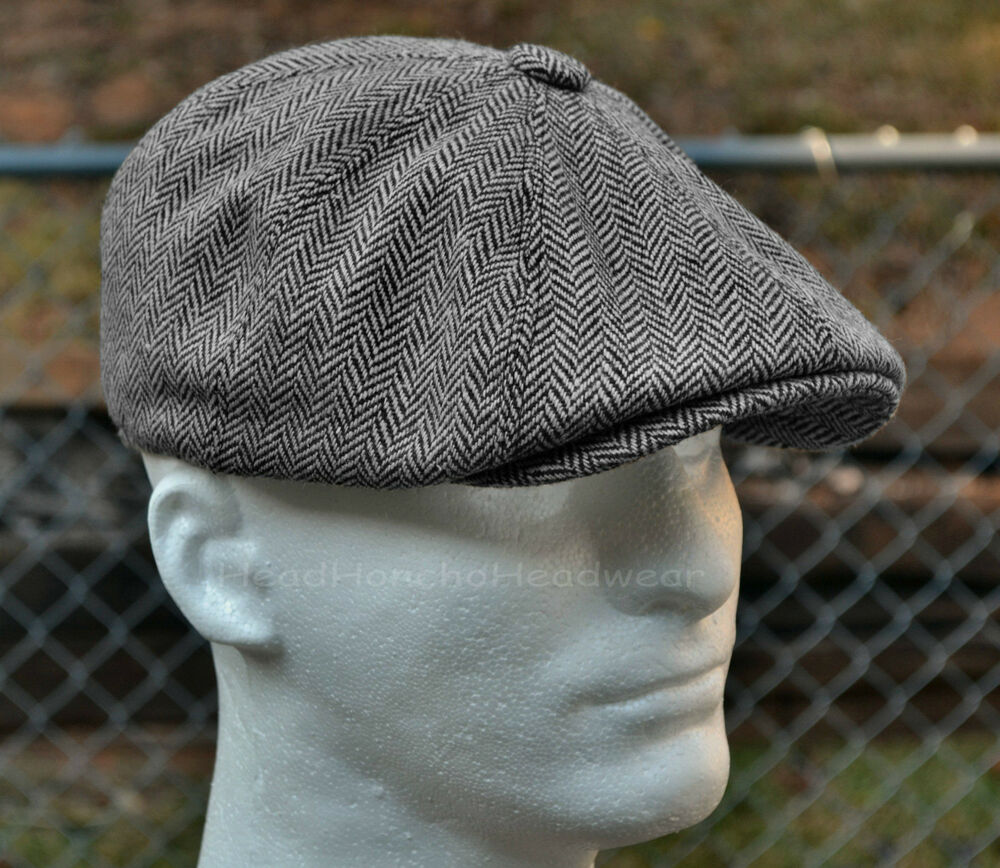 HERRINGBONE TWEED GATSBY Newsboy Cap Men Wool Ivy Hat Golf Driving Flat  Cabbie  32c5f3b268d
