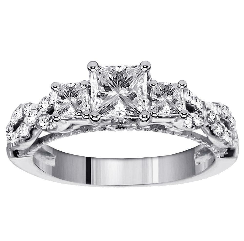 Princess Cut Diamond Three Stone Past Present Future Ring L
