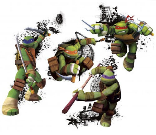 Ninja Turtles In Action Wall Stickers Murals 4 Big Decals