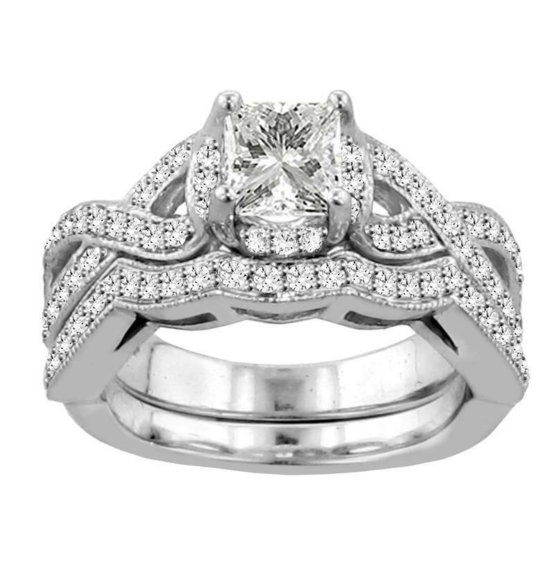 1.40 Pave Braided Princess Cut Diamond Engagement/Wedding