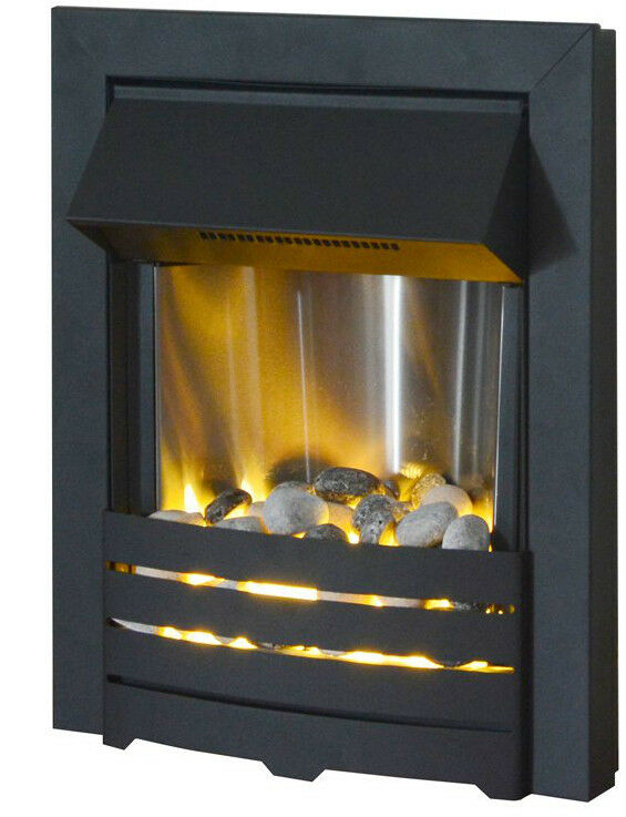 Electric Black Modern Flame 2kw Led Fireplace Inset Insert Pebble Fire Surround Ebay