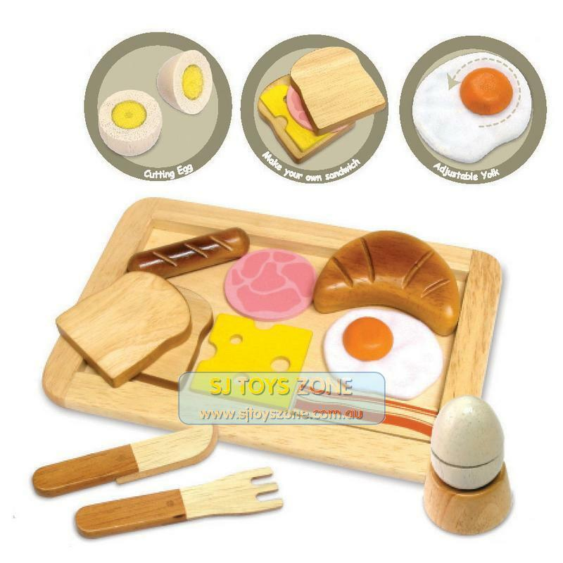 wooden breakfast lunch play set kitchen food toy pretend. Black Bedroom Furniture Sets. Home Design Ideas