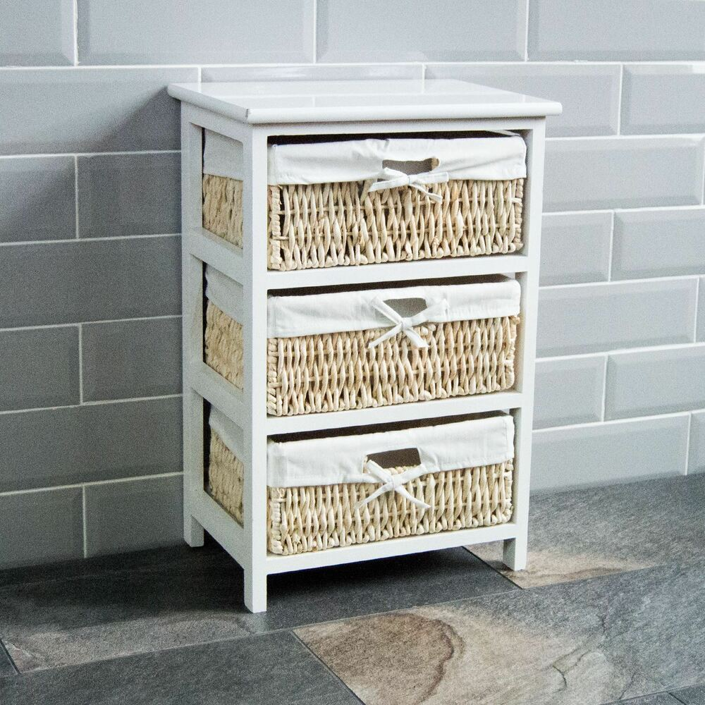 Maize Baskets Unit White 3 Drawer Storage Cabinet Organiser New By Home Discount Ebay