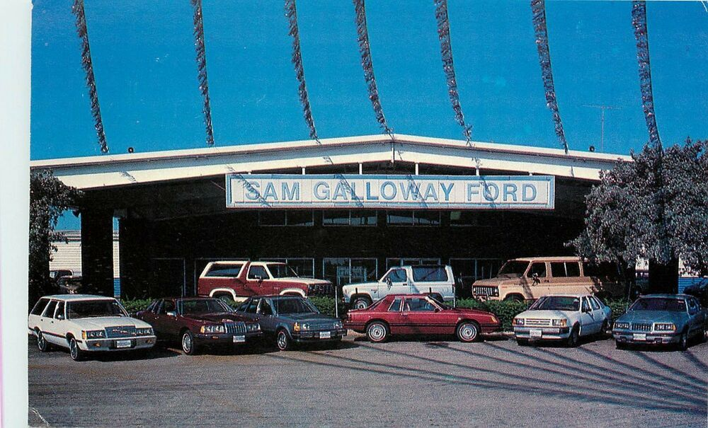 chrome advertising postcard car dealership sam galloway ford fort myers fl ebay. Black Bedroom Furniture Sets. Home Design Ideas