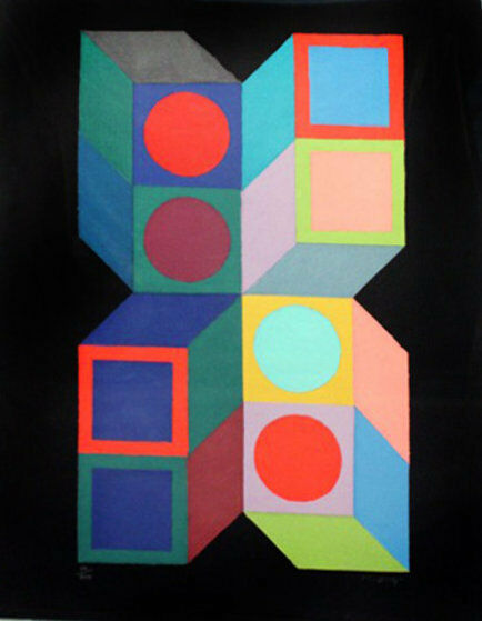victor vasarely hexa 5 1987 serigraph ebay. Black Bedroom Furniture Sets. Home Design Ideas