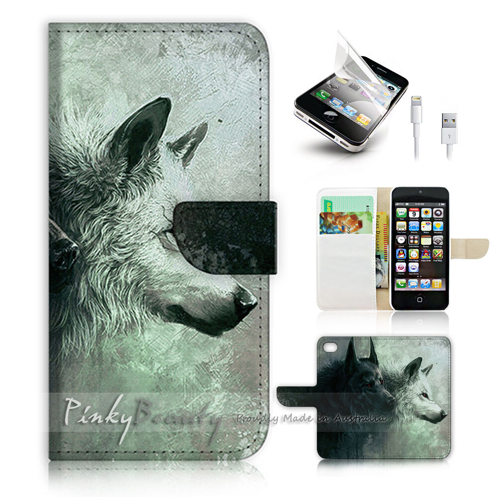 wallet phone case iphone 5 iphone 5 5s flip wallet cover p0793 wolf ebay 18168