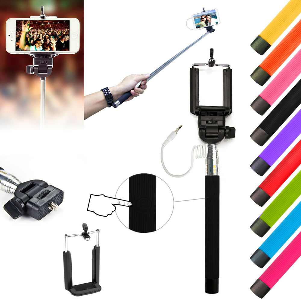 universal monopod selfie stick pole for iphone samsung galaxy nokia sony ebay. Black Bedroom Furniture Sets. Home Design Ideas
