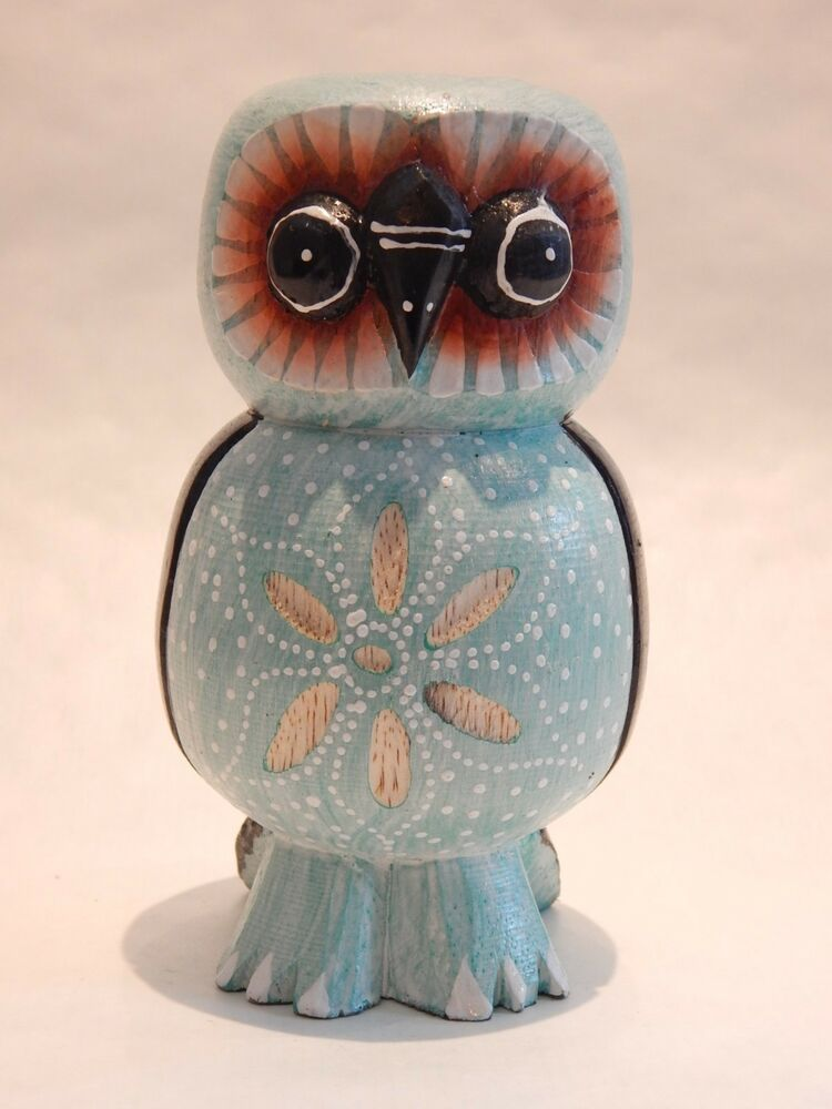 Wooden Owl Hand Carved Painted Wood Bali Home Decor
