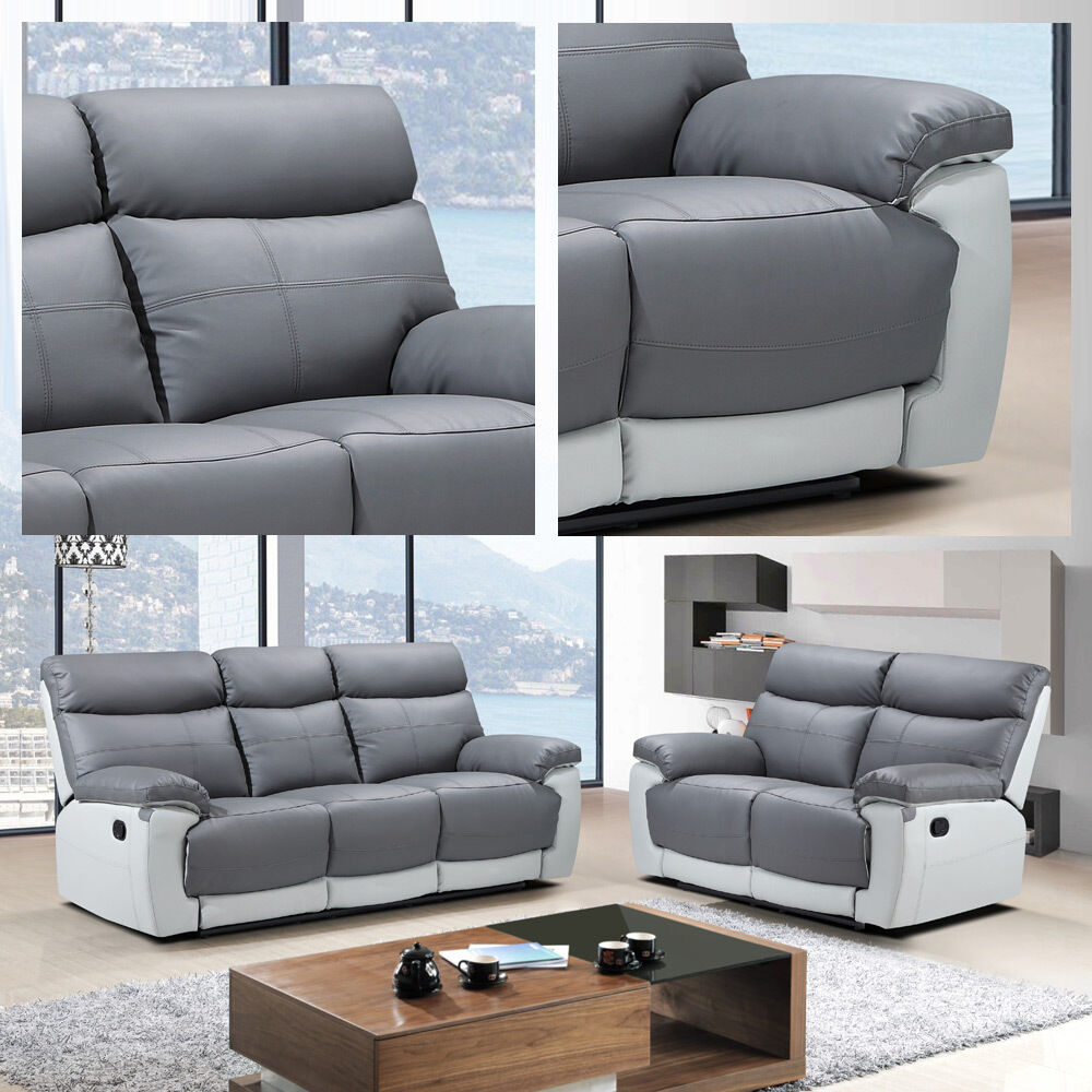 Leather Sofa Suites Uk: Stirling 3 + 2 Seater Sofas Slate Grey Leather Recliners W