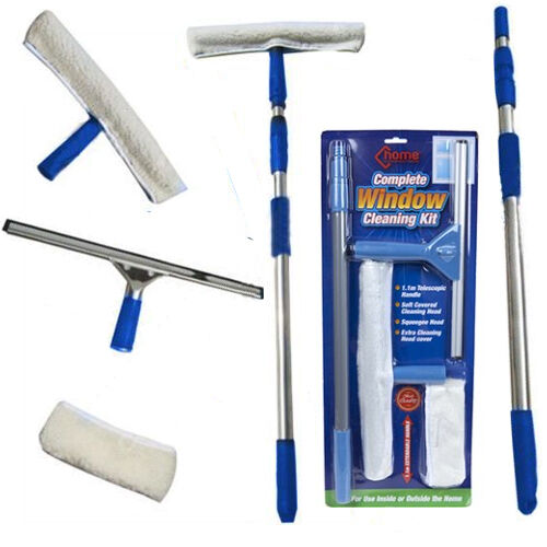 Window cleaning kit telescopic pole cleaner home car van squeegee washer new ebay - Diy tips home window cleaning ...
