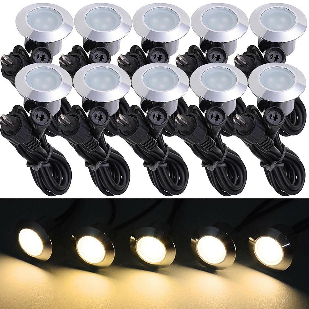 10pc deck garden mall landscape warm white led lights low for Low voltage led patio lights