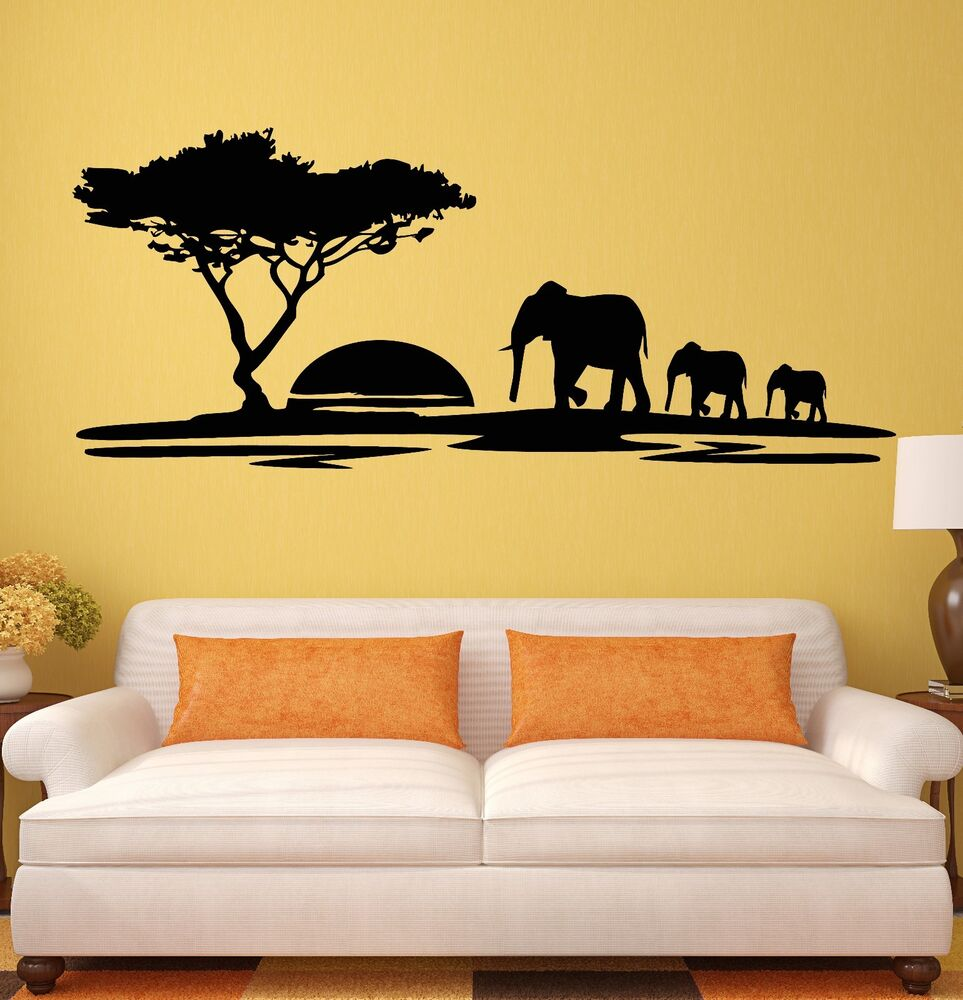 Wall stickers elephant african animals landscape tree for Decor mural wall art