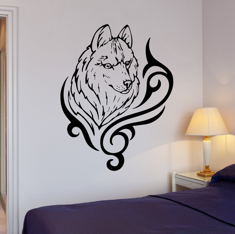 wall stickers wolf animal predator tribal art mural vinyl decal ig1924 ebay. Black Bedroom Furniture Sets. Home Design Ideas