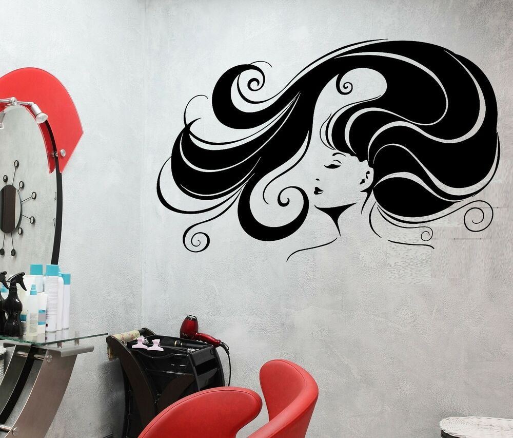 wall sticker beauty salon hair spa barbershop stylist mural vinyl decal ig1927 ebay. Black Bedroom Furniture Sets. Home Design Ideas