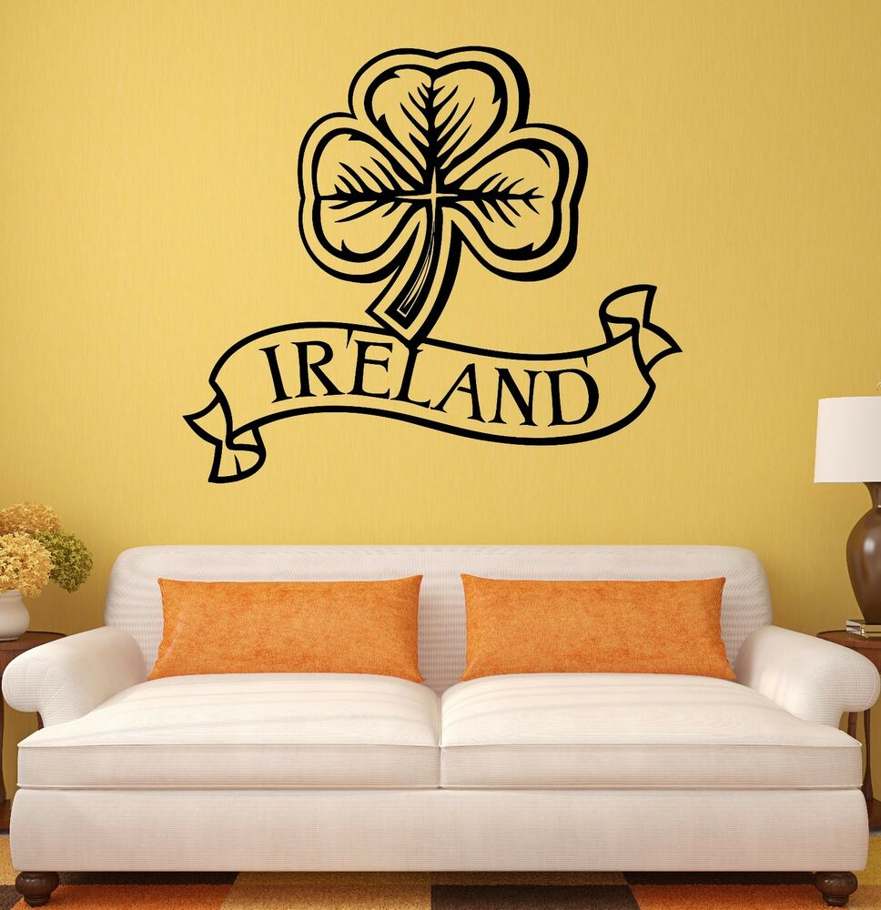 Wall Sticker Ireland Irish Shamrock Mascot Art Mural Vinyl Decal ...