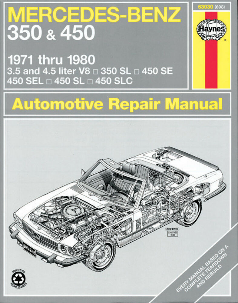 Haynes 63030 repair manual mercedes benz 350 450 1971 for Mercedes benz online repair manual