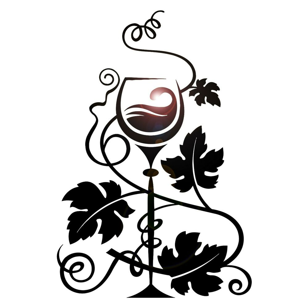 Wall Stickers Glass Of Wine Grapes Restaurant Kitchen