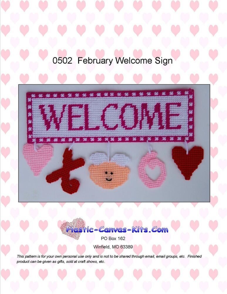 February Welcome Sign-Valentine's Day-Hearts, XO- Plastic ...