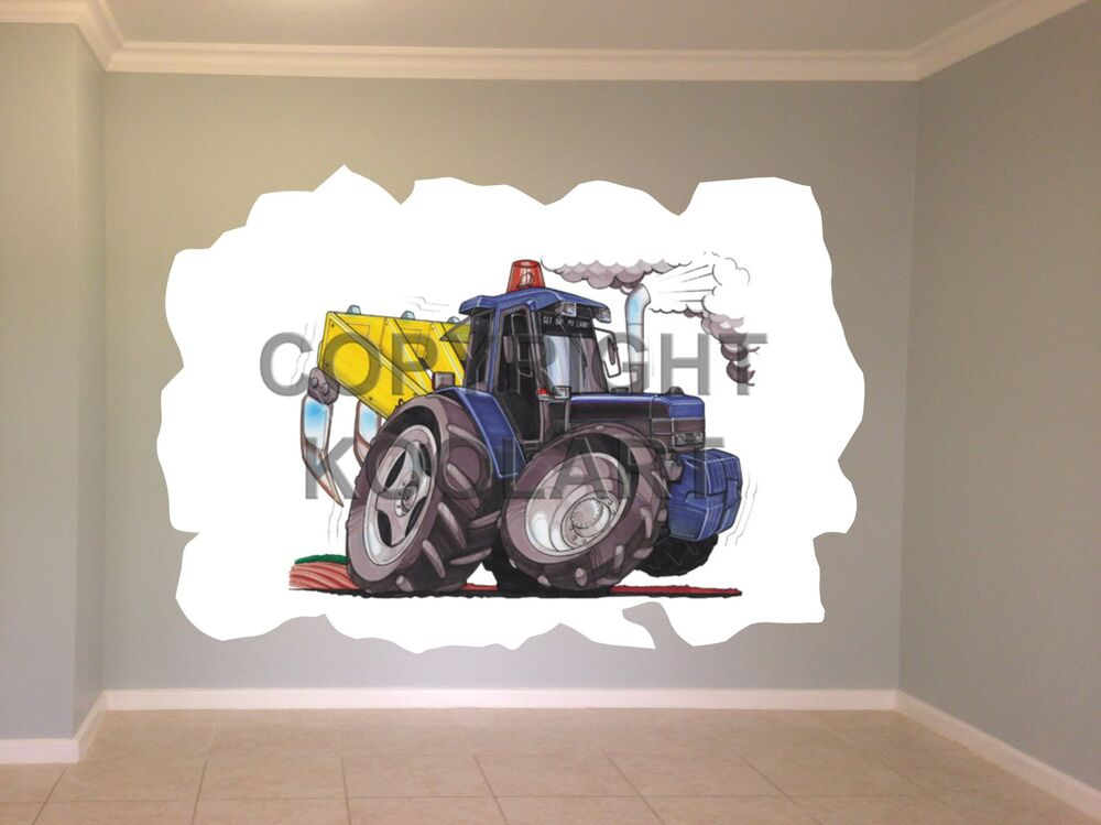 Ford Tractor Cartoon : Huge koolart cartoon ford tractor with plough wall sticker