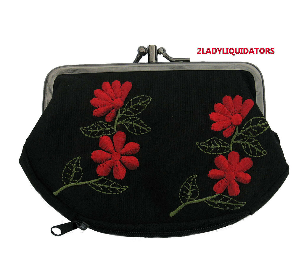 Black rose red large compartment embroidered coin purse