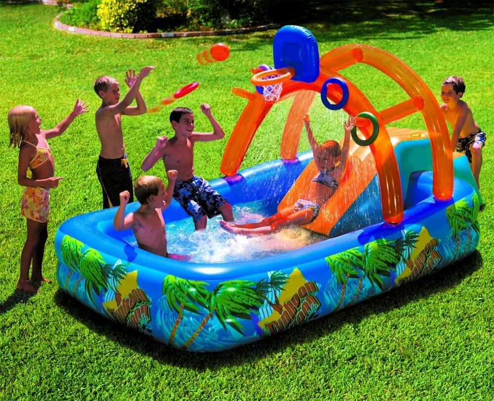 Inflatable water park slide pool commercial bounce house for Children s garden pools