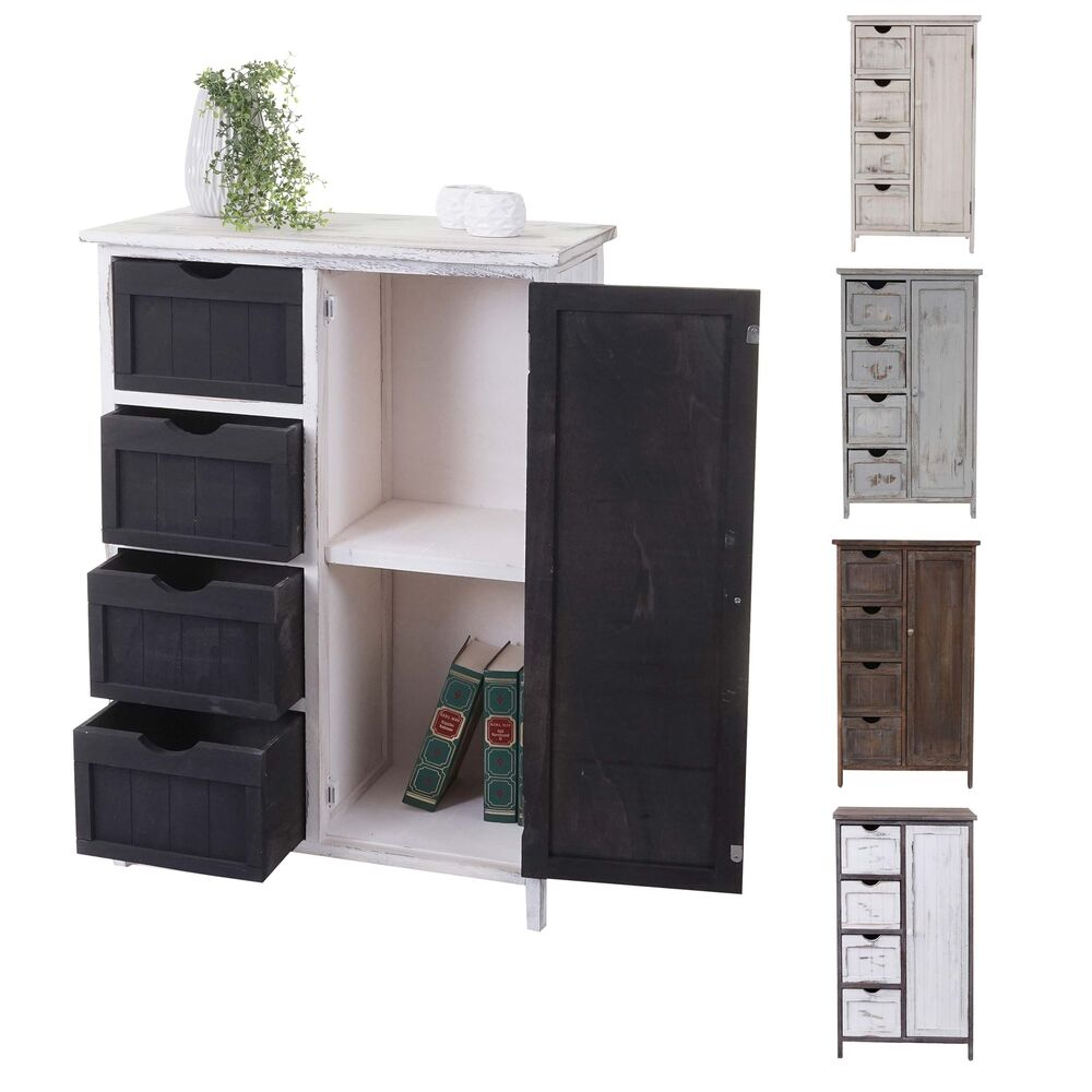schrank 82x55x30cm shabby look vintage grau braun wei ebay. Black Bedroom Furniture Sets. Home Design Ideas