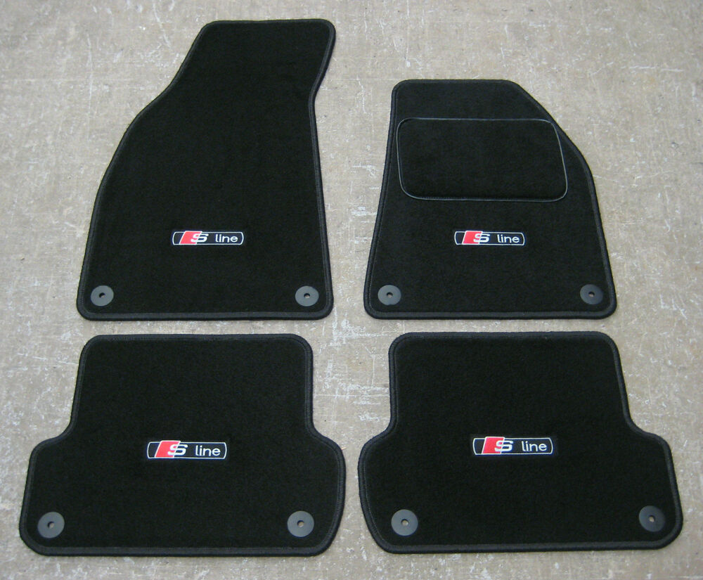 car mats in black to fit audi a4 b6 b7 2001 2008 s. Black Bedroom Furniture Sets. Home Design Ideas