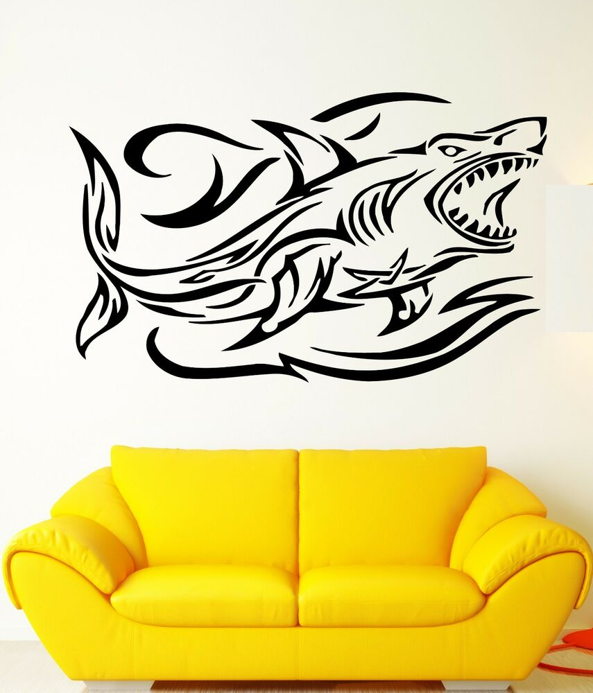 wall stickers shark and waves ocean predator marine art. Black Bedroom Furniture Sets. Home Design Ideas