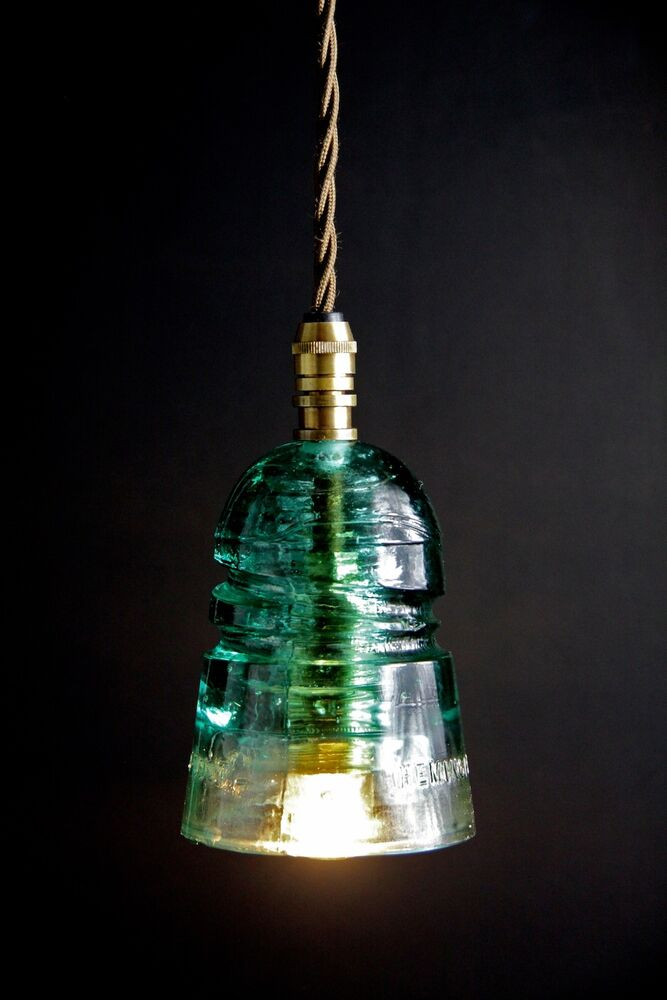Vintage insulator lamp cage pendant cloth cord trouble for Insulator pendant light