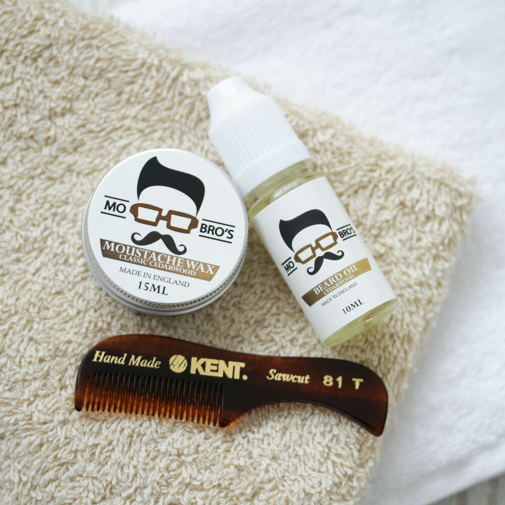 mo bro 39 s gift pack cedarwood moustache wax beard oil kent 81t be. Black Bedroom Furniture Sets. Home Design Ideas
