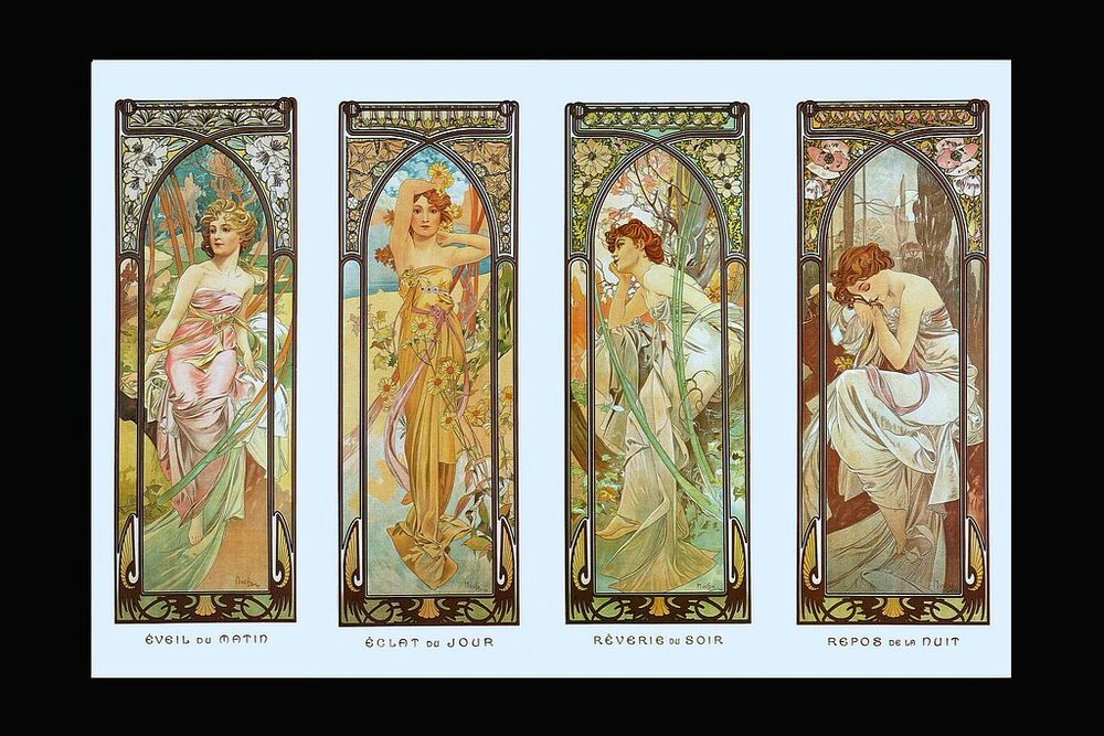 a3 t affiche mucha art nouveau temps de jour imprimer. Black Bedroom Furniture Sets. Home Design Ideas
