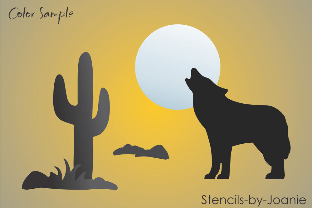 "Joanie STENCIL 3"" T Coyote Howling Wolf Moon Desert Cactus"