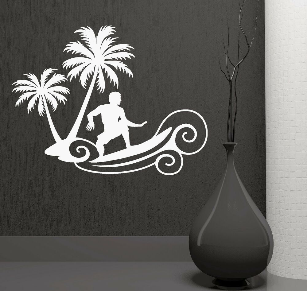 Wall Stickers Wave Surfing Beach Extreme Sports Palms Art