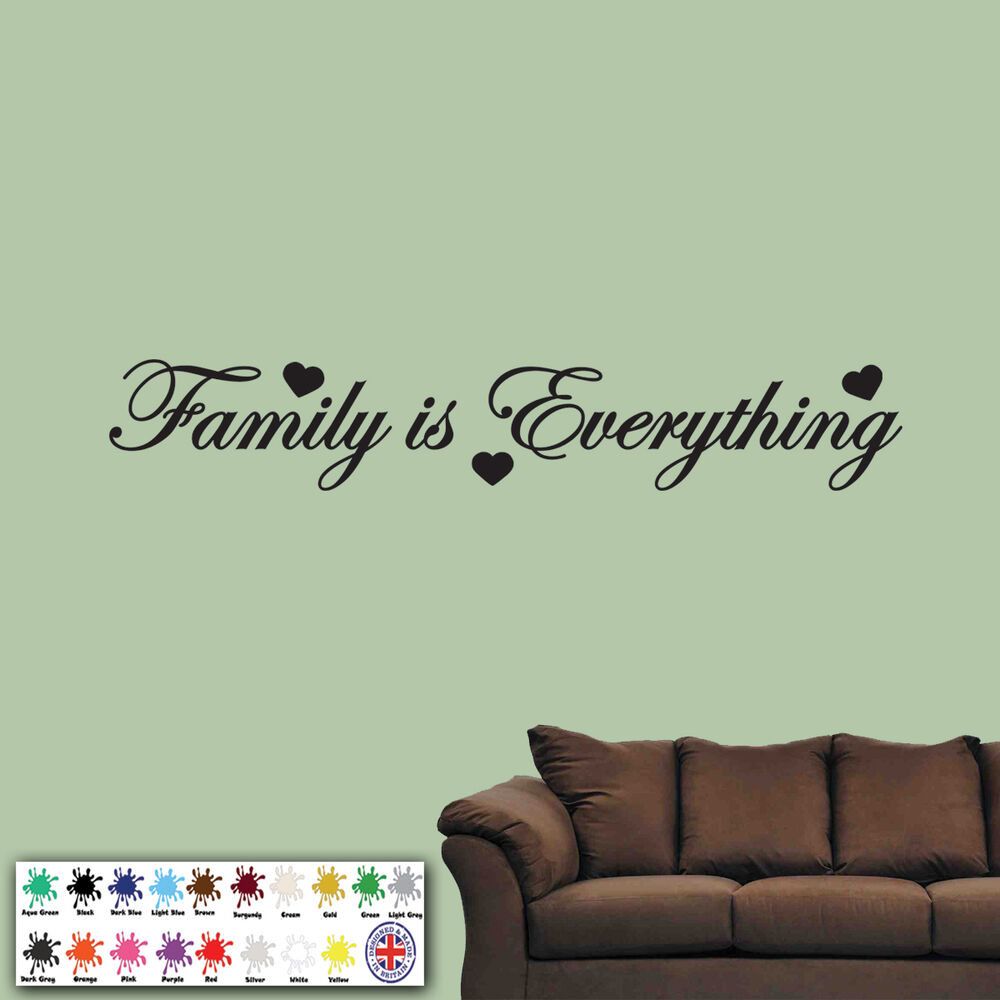 family is everything wall sticker vinyl art quote decal bedroom words love ebay. Black Bedroom Furniture Sets. Home Design Ideas