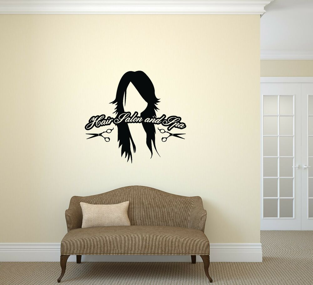 vinyl decal wall sticker hair salon spa styling nails beauty haircut ig2036 ebay. Black Bedroom Furniture Sets. Home Design Ideas