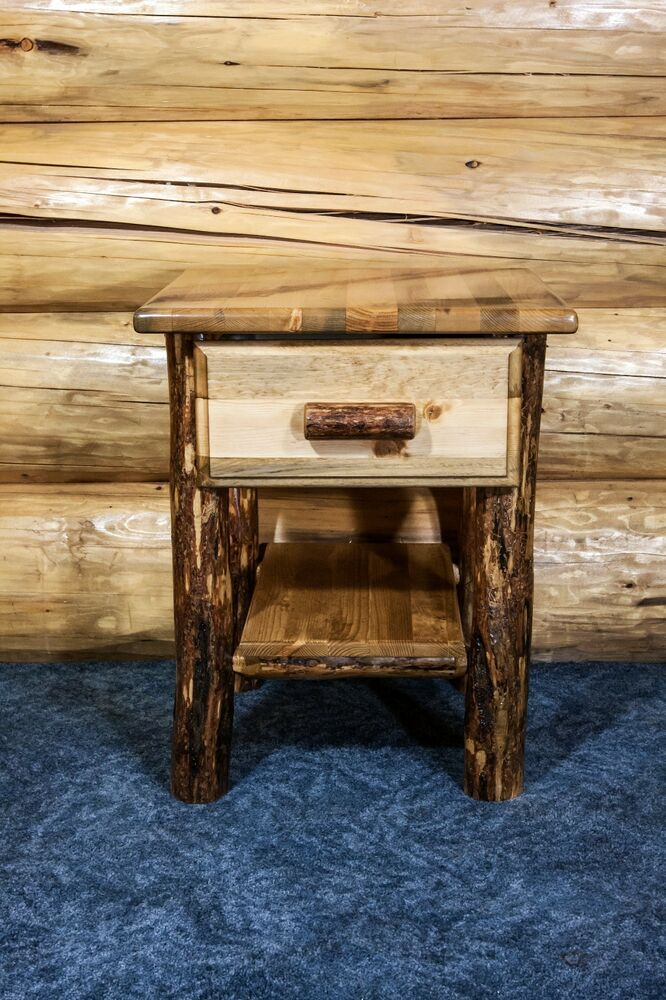 Log Cabin Night Stand Amish Made Solid Pine End Tables
