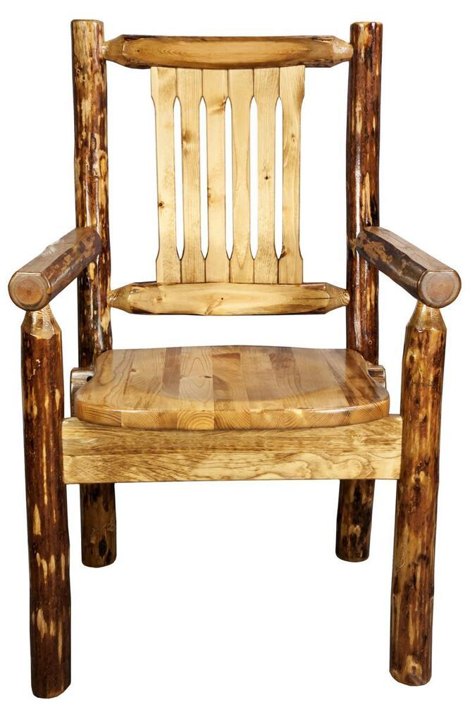 Rustic captain chair log dining with arms solid pine