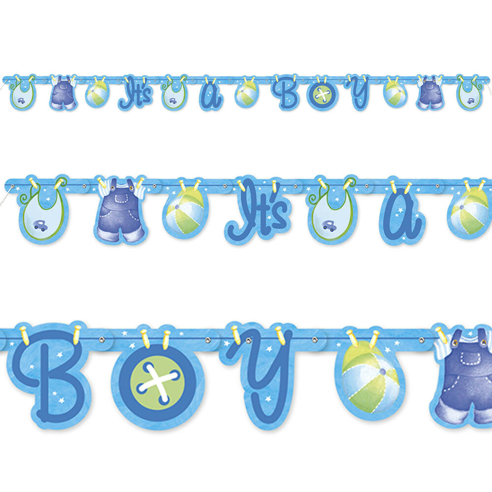 Blue it 39 s a boy cute clothesline baby shower party jointed for Baby clothesline decoration