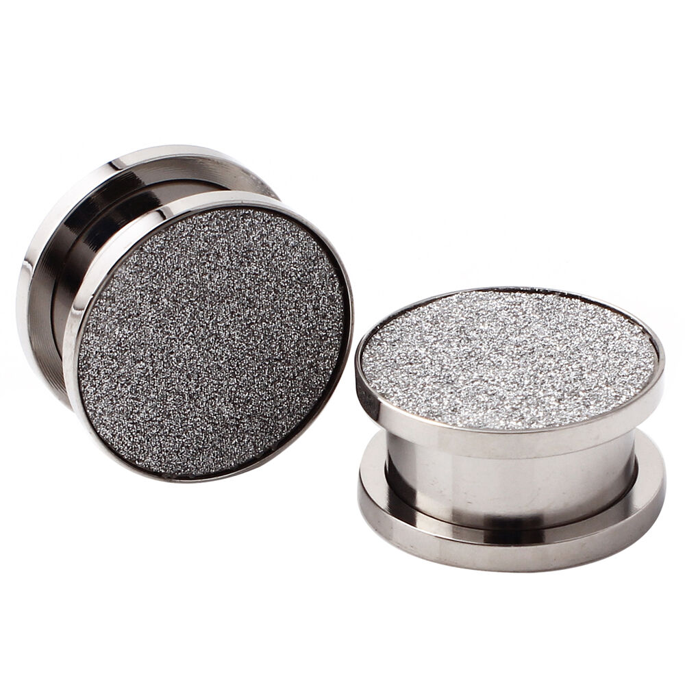 Pair stainless steel hollow tunnel silver sparkling ear